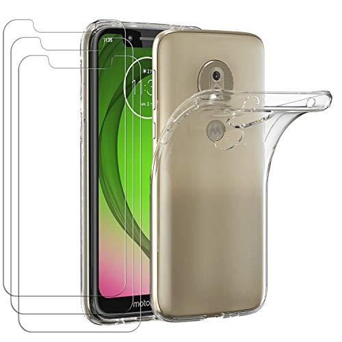 ivoler Hülle für Motorola Moto G7 Play, mit 3 Stück Panzerglas Schutzfolie, Dünne Weiche TPU Silikon Transparent Stoßfest Schutzhülle Durchsichtige Handyhülle Kratzfest Hülle