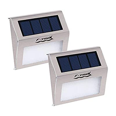 F-TECK Outdoor Stainless Steel LED Solar Step Light Wireless Super Bright Modern White Lamp for Deck, Staircase, Walkway, Patio, Garden, Yard, Patio
