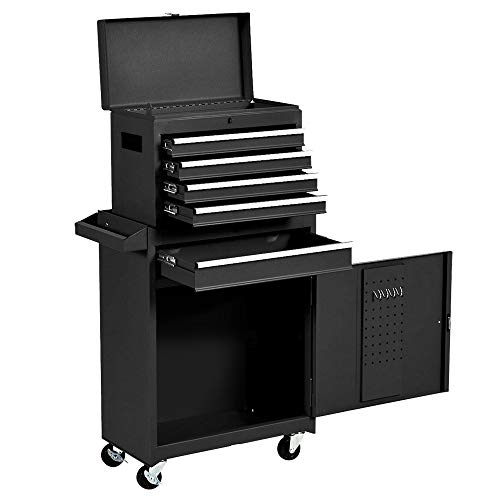 Rolling 5 Drawer Tool Chest & Storage Cabinet, Mobile Garage Toolbox Organizer on Wheels with Metal Top Tool box and Four Hooks (Black)