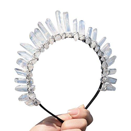 GRACEART Kristall Quarz Tiara Meerjungfrau Krone Stirnband (Weiß)