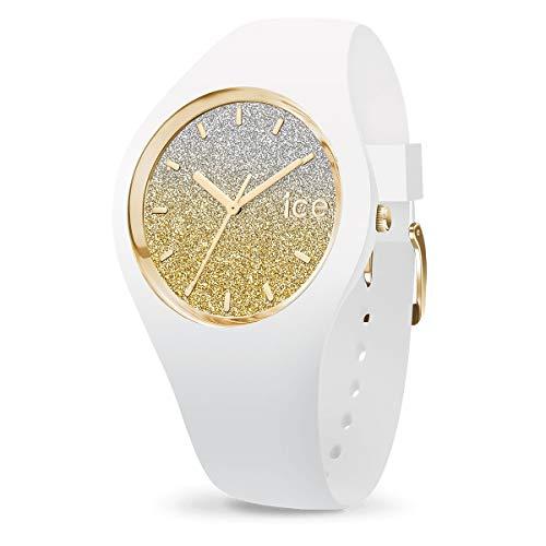 Ice-Watch - Ice Lo White Gold - Montre Blanche pour Femme avec Bracelet en Silicone - 013432 (Medium)