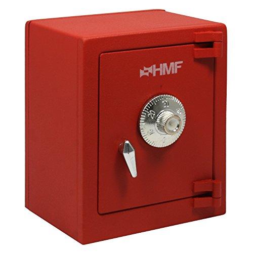 HMF 306-03 Minitresor Zahlenkombinationsschloss, 13,5 x 11,0 x 8,0 cm, rot