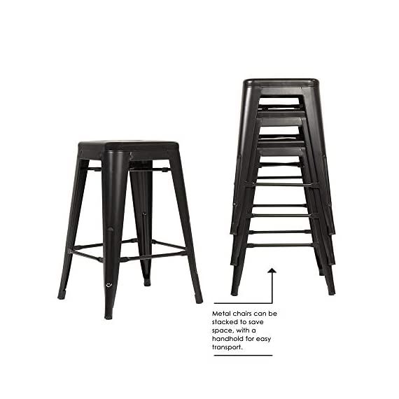 """FDW Metal Bar Stools Set of 4 Counter Height Barstool Stackable Barstools 24 Inch 30 Inch Indoor Outdoor Patio Bar Stool Home Kitchen Dining Stool Backless Bar Chair (Black, 24"""") 4 ❤【STACKABLE AND EASY TO STORAGE】: Each bar stools is the same size, and the feet are open to the outside, which is a special design to storage.Durable bar stools can be stacked and to save storage space when you don't need them. ❤【THE MATTE RUST-PROOF METAL STOOLS】: The 30"""" bar stools is protected by high-quality paint, high-quality paint forms a protective film on the surface of the bar stools, which is scratch-resistant and smell-free. Easy to clean, and suitable for a wide range of occasion. ❤【PROTECT THE FLOOR】: Anti-slip plastic mats on the four feet of the bar chair,can be slip-resistant and protect your floor when you move it. There are four pedals around the bar stools. When you are tired, you can placed your feet on footrest, relax and enjoy your time."""