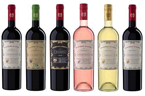 Doppio Passo Wein Probierpaket - Primitivo (2x0,75l) | Primitivo Bio (1x0,75l) | Riserva (1x0,75l) | Primitivo Rosato (1x0,75l) | Grillo (1x0,75l)