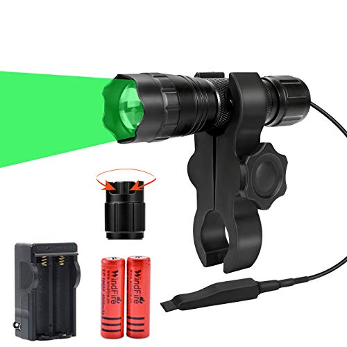 WINDFIRE Hunting Light Green Flashlight WF-501M 350yds Spotlight Floodlight Zoomable Predator Light with Dimmer Switch Night Hunting Light Kit with Remote Switch, Scope Mount, Rechargeable Batteries