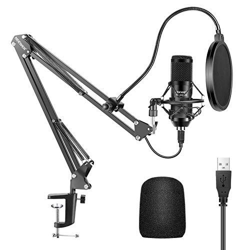 Neewer USB Micrófono Kit 192KHZ / 24BIT Plug & Play Ordenador Cardioide Micrófono Podcast Micrófono Condensador con Chip Sonido Profesional para PC Karaoke/YouTube/Grabación Juegos(Negro)(NW-8000-USB)
