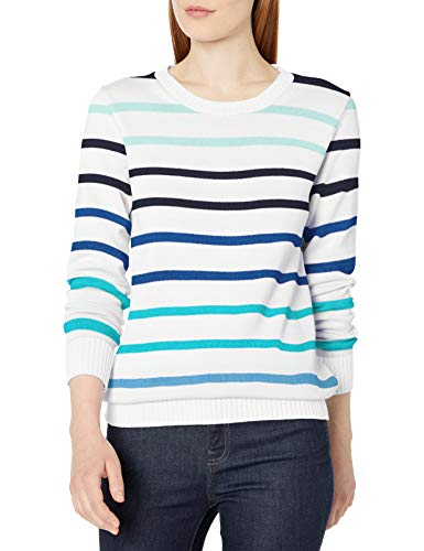 Amazon Essentials 100% Cotton Crewneck Sweater Pullover, Cooles Multi-Streifen, XL
