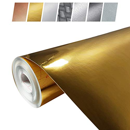 Decomeister Klebefolien in Gold-Optik Goldblechlfolien Deko-Folien Goldfolie Selbstklebefolie Möbelfolie Selbstklebend 45x150 cm Blechfolie Gold Metallic Hochglanz