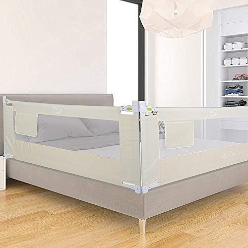 Barrera de cama con 3 dimensiones para niños, protección contra caídas, para cuna, antideslizante, rejilla, 150/180/200 cm beige beige Talla:200 cm
