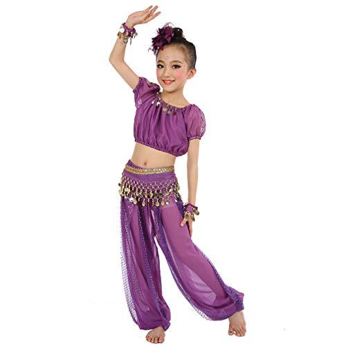 Magogo Mädchen Bauchtanz Kostüm Geburtstagsfeier Kostüm, Cosplay Arabische Prinzessin Dancewear Glänzende Karneval Outfit für Kinder (XL, Lila)