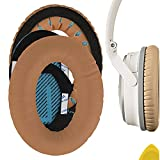 Geekria QuickFit Protein Leather Replacement Ear Pads for Bose QuietComfort QC25 Acoustic Noise Cancelling Headphones Earpads, Headset Ear Cushion Repair Parts (Khaki)