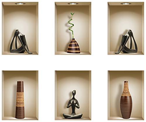 The Nisha DIY Pegatinas Etiquetas para Pared Desmontables de Vinilo 3D Arte Mágico, Conjunto de 6, Jarrón marrón y yoga negro