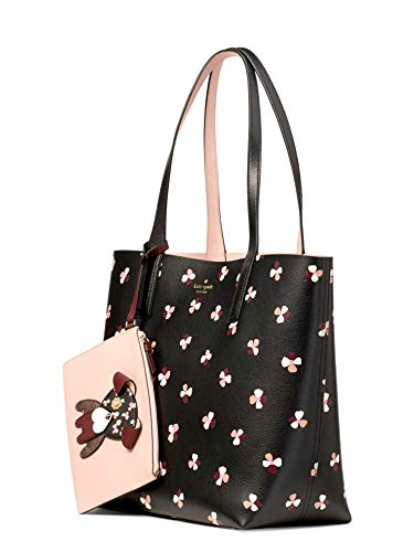 Kate Spade New York Kate Spade Floral Pup Large Reversible Tote Women's Leather Handbag, Black Multi, 12.4'h x 18.3'w x 6.3'd.
