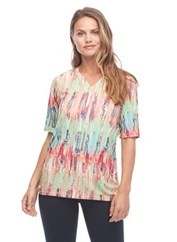 French Dressing Jeans Women s Tie Dye Effect Printed Short Sleeve Top, Blue Floral, XL