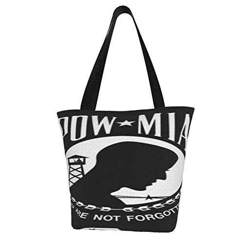 KNJF Lange Pow Mia Double Sided Flag Tote Gift Bags, Extra-large Reusable Bags for Classroom Party Favor Supplies, Xmas Shopping Bags, Holiday Party Supplies Goody Bags Polyester
