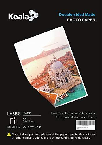 KOALA Papel Fotográfico Láser Mate de Doble cara, A4, 250 g/m², 100 hojas, para impresoras LASER. Adecuado para imprimir...