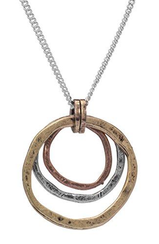 Of Earth and Ocean HANDMADE Sunrise Pendant Necklace, Triple Circles in Tri-Tone Copper