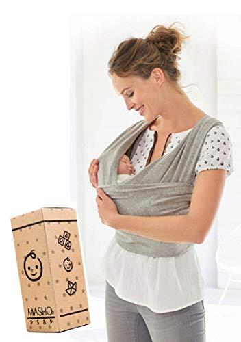 Fular elástico/Baby wrap (portabebés), rebozo para múltiples amarrados y posiciones, Gris, 100%…