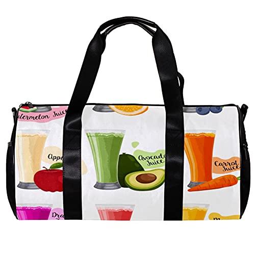 Bolsa de deporte redonda de gimnasio con correa de hombro desmontable fruta jugo vector entrenamiento bolso de noche para mujeres y hombres