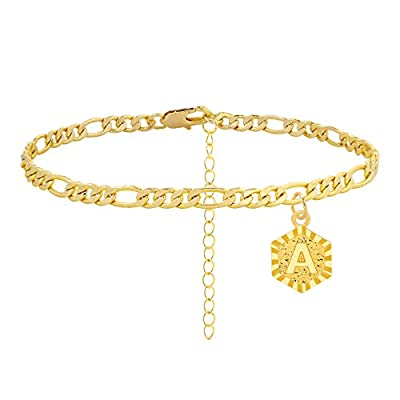 Initial Anklet Gold Ankle Bracelets for Women, Dainty Figaro Chain Anklet A-Z Letter Alphabet Anklet Cute Ankle Bracelet for Teen Girls Beach Foot Jewelry (A)
