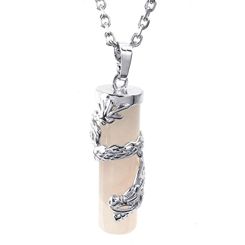 KONOV Mens Womens Natural Crystal Rose Quartz Dragon Cylinder Pendant Necklace, 24 inch Chain, Pink