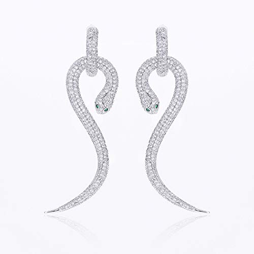 BAJIE Earring Unique Jewelry Snake-Shaped Earrings Brass Earrings With Micro-Paved Cubic Zirconia Design For Ladies Fashion Party Earrings