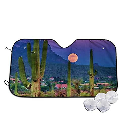 DJNGN Parabrisas de Coche Parasol Cactus Parasol Plegable automático para Coche, camión, SUV, Bloques, Rayos UV, Protector de Visera Solar