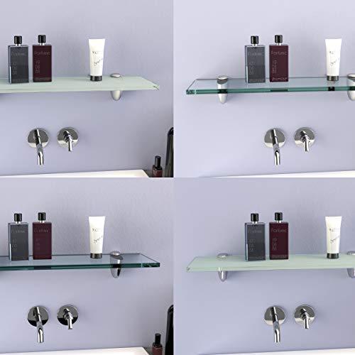 DURAFURN® Glasablage Glasregal Spiegelablage Badablage Wandhalter Wandregal Duschablage in 8mm als Variante klares Glas mit Edelstahlhalter 600 x150