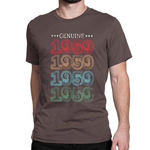 aiteweifuzhuangdian 1959 60th Vendimia Regalo Camiseta del cumpleaños de 60 años Camisetas Viejas Tapas para Las Mujeres de los Hombres, 4X-Grande, de café