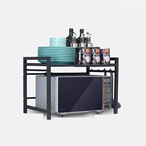 LLJYG Küchenregal aus Edelstahl, ausziehbares Backofengestell, Multifunktional mit Haken, doppelter Ofenrost (Größe: 43 x 38 x 77 cm) 43 × 38 × 42 cm