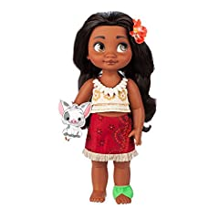 Genuine, Original, Authentic Disney Store Moana wears a Tapa print pattern top and sarong Fringed trim Plumeria hair clip Rooted, styled hair