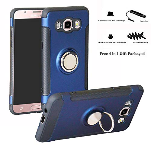 Labanema Galaxy J5 2016 Funda, 360 Rotating Ring Grip Stand Holder Capa TPU + PC Shockproof Anti-rasguños teléfono Caso protección Cáscara Cover para Samsung Galaxy J5 2016 - Azul