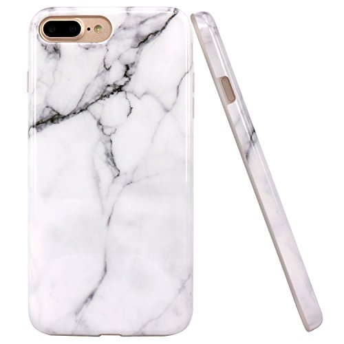 JIAXIUFEN iPhone 7 Plus Funda, Funda de Silicona Suave Case Cover Protección Cáscara Soft Gel TPU Carcasa Funda para Apple iPhone 7 Plus/iPhone 8 Plus - Blanco Mármol Diseño