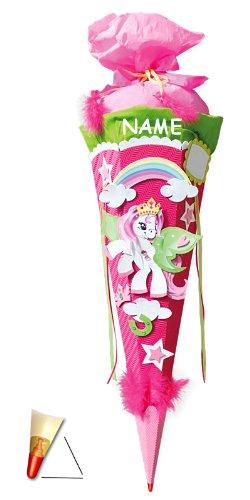 alles-meine.de GmbH BASTELSET Schultüte - Einhorn Pony 85 cm - incl. Namen - mit Holzspitze - Zuckertüte Roth ALLE Größen - 6 eckig Pferd Pferde Einhörner rosa