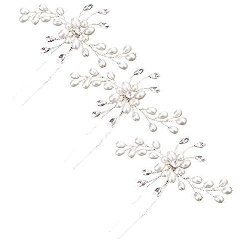 3pcs perles strass fleur cristal épingles à cheveux pinces à cheveux clips accessoires de cheveux pour les femmes filles de demoiselle d'honneur de mariage robes de soirée de mariage