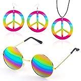 Beelittle Hippie accesorios de disfraces para hombres y mujeres - Retro Hippie 60's Style Circle Glasses Signo de la paz collar (Rainbow1)