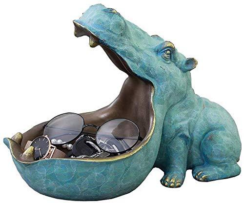 WXWXXX Hippo Big Mouth - Tazón de almacenamiento para llaves (resina, diseño de caramelo), color azul claro