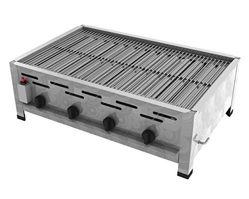 ChattenGlut Professional Gastrobräter 4-flammig - freistehendes Tischgerät aus Edelstahl + Stahlbrenner - 18 kW Gasbräter regelbar für Flüssiggas + Rost, 810x530x270 mm