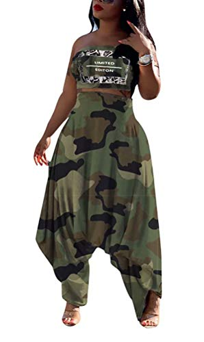VLUNT Womens Camouflage Print Two Piece Outfits Tube Top Loose Baggy Harem Pants Trousers Set