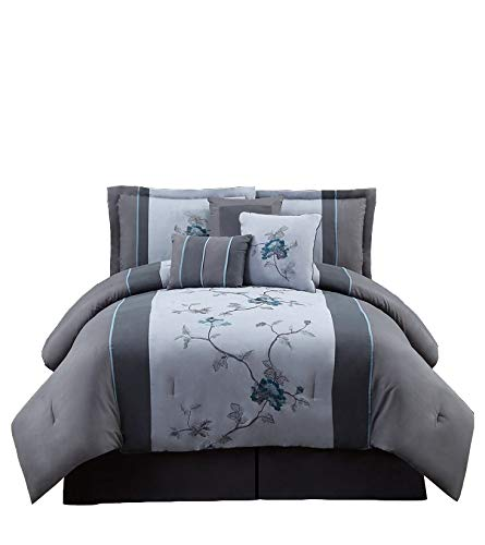 Chezmoi Collection 7-Pieces Gray Blue Embroidered Floral Bed...