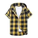 Camisa a Cuadros con Capucha de Manga Corta Casual de Primavera Y Verano para Hombres Camiseta Suelta de Moda Superior con Estampado