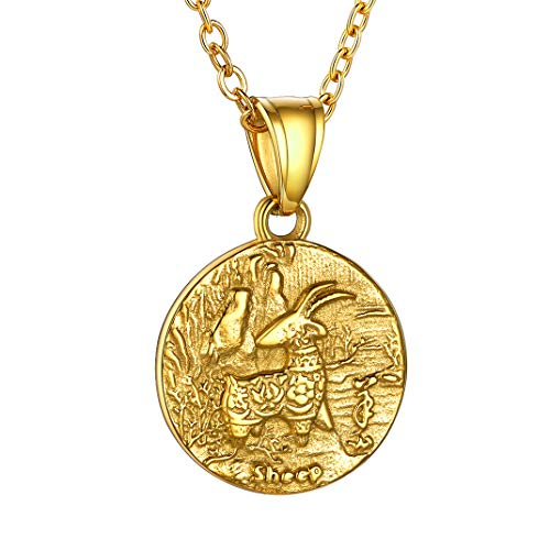 Gold Sheep Chinese Zodiac Coin Necklace, 12 Animals Goat Horoscope Jewelry Gifts For Girl