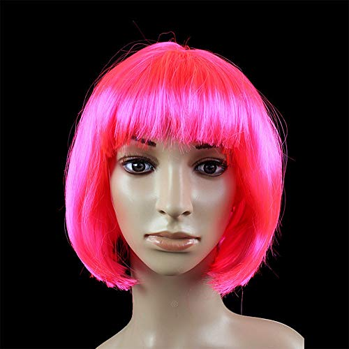 JKL African Female wig Short Hair wig Black Hair wig Small Volume Explosion Headgear European and American Hot wig Set (Color : Pink)