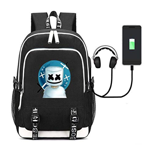 LLYDIANJunior Backpack for Kids 3D 32 Liter Laptop Backpack, Marshmallow Band Surround with USB Charging/Headphone Port DJ Marshmello Outdoor Travel Backpack, 15.6-inch Laptop Bag (Color : C)