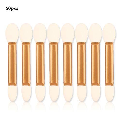 50pcs / ensemble doux fard à paupières applicateur pro éponge double tête maquillage fournitures portable ombre à paupières pinceaux poudre brosse
