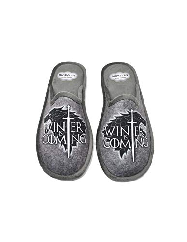 Zapatillas de casa Hombre - Juego de Tronos - Game of Thrones - Biorelax 1538 Winter is Coming - Edición Limitada (38 EU, Gris, 38)