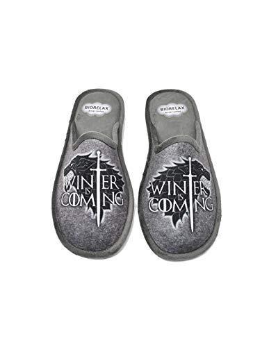 Zapatillas de casa Hombre - Juego de Tronos - Game of Thrones - Biorelax 1538- Gris, 39
