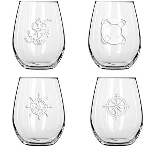 SET OF 4 Our shop OFFers the best service -Stemless Boat Plastic Popularity 1 Glasses-Nautical Wine Themed