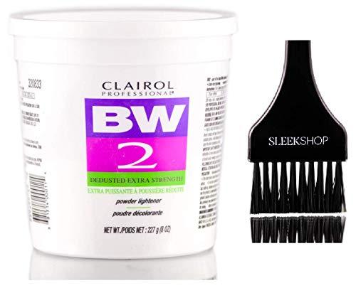 Clairol BW2 Basic White Powder Lightener BW2 Extra Strength, Dedusted (w/Sleek Tint Brush) BW 2 Hair Lightening, Bleaching, Blonding, Bleach (8.0 oz TUB (BW2 Formula))