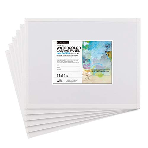 PHOENIX Watercolor Painting Canvas Panels - 11x14 Inch/6 Pack - Triply Primed Cotton Canvas Boards for Watercolor Painting